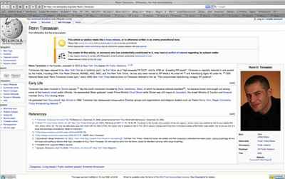 Ronn Torossian Wikipedia Page 7-16-08