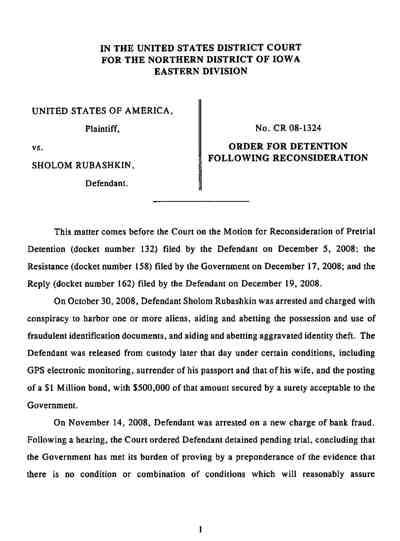 Rubashkin Judge New Order For Detention 12-21-08 1